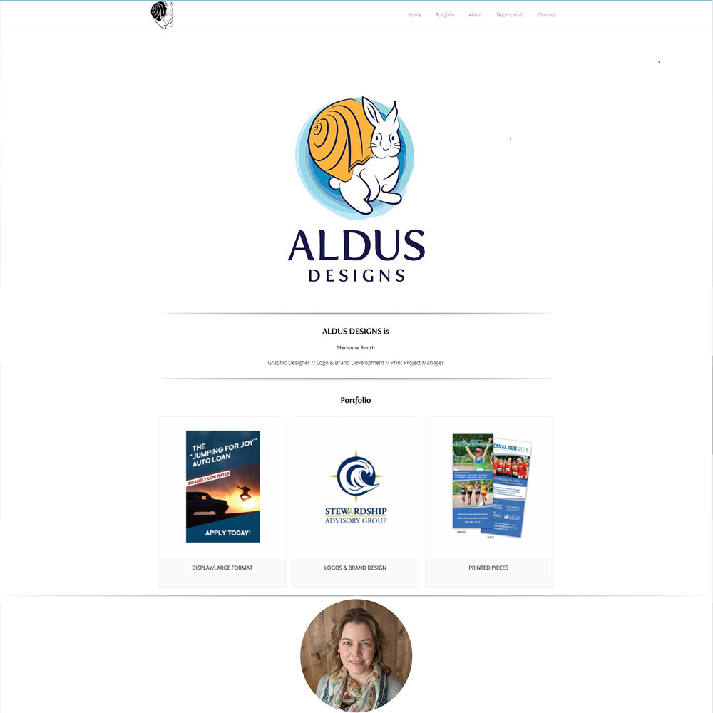 Home page layout for Aldus Designs designed by Luke Brokaw