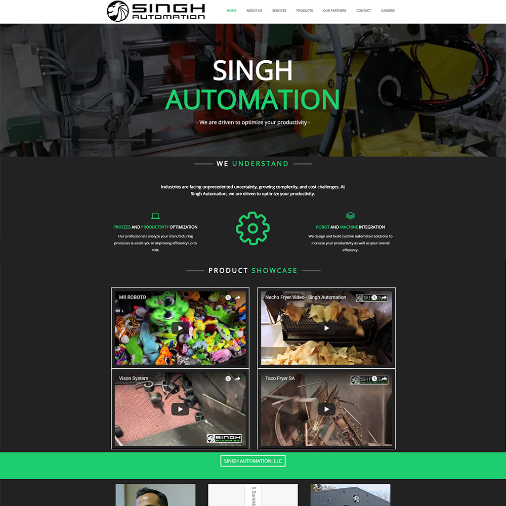 Home page for Singh Automation designed by Luke Brokaw