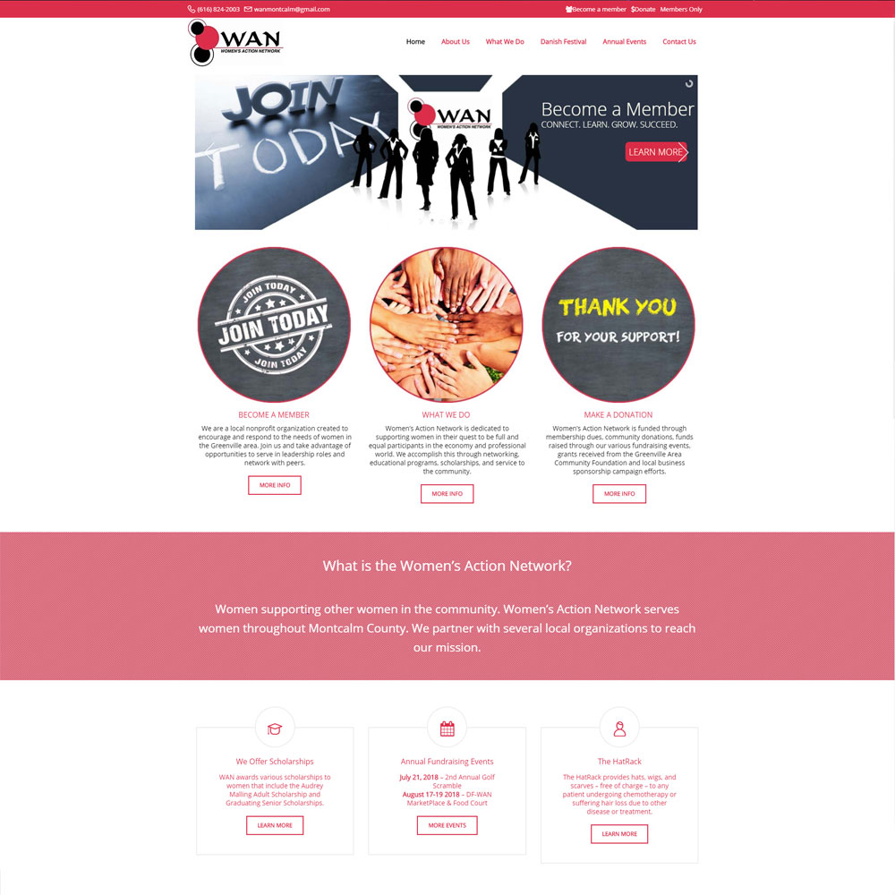 Home page layout for Women's Action Network designed by Luke Brokaw