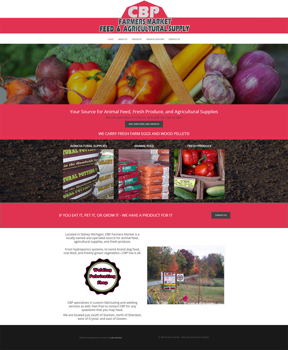 Home Page for CBP Farmers Market designed by Luke Brokaw