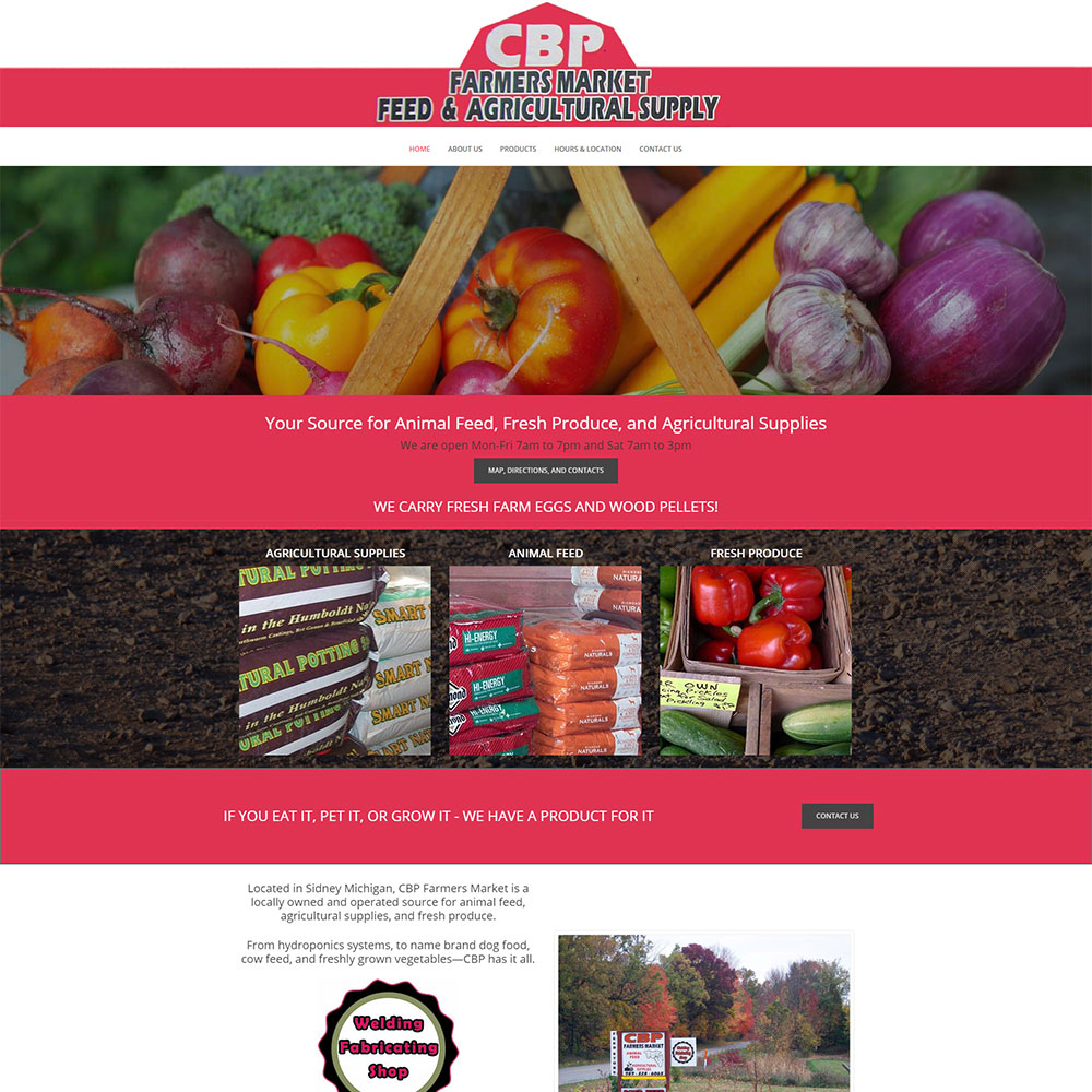 Home Page design for CBP Farmers Market designed by Luke Brokaw