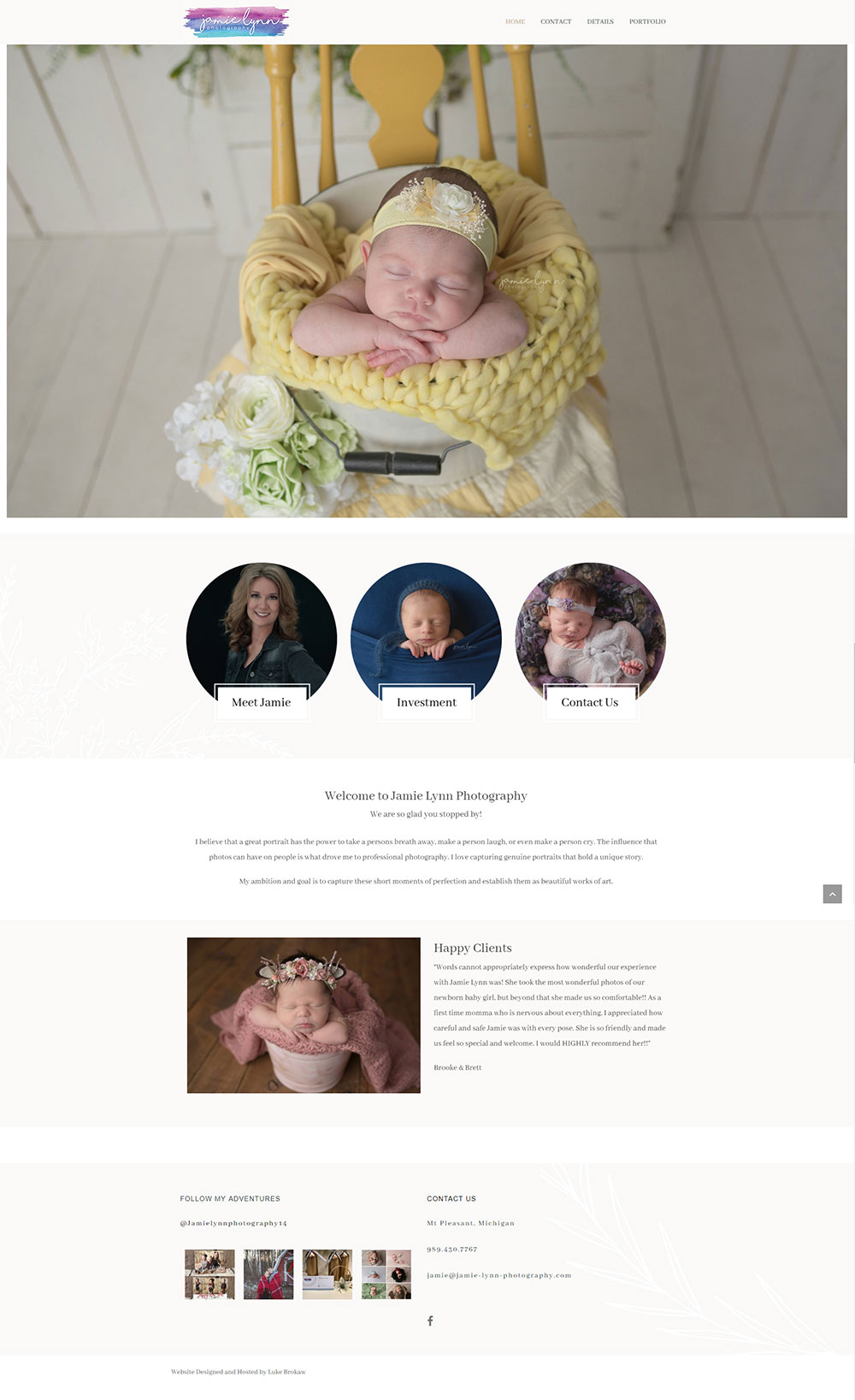 Full Home Page for Jamie Lynn Photography designed by Luke Brokaw