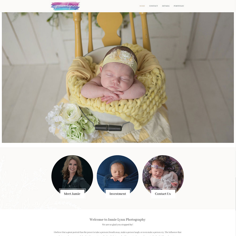 Jamie Lynn Photography website design home page