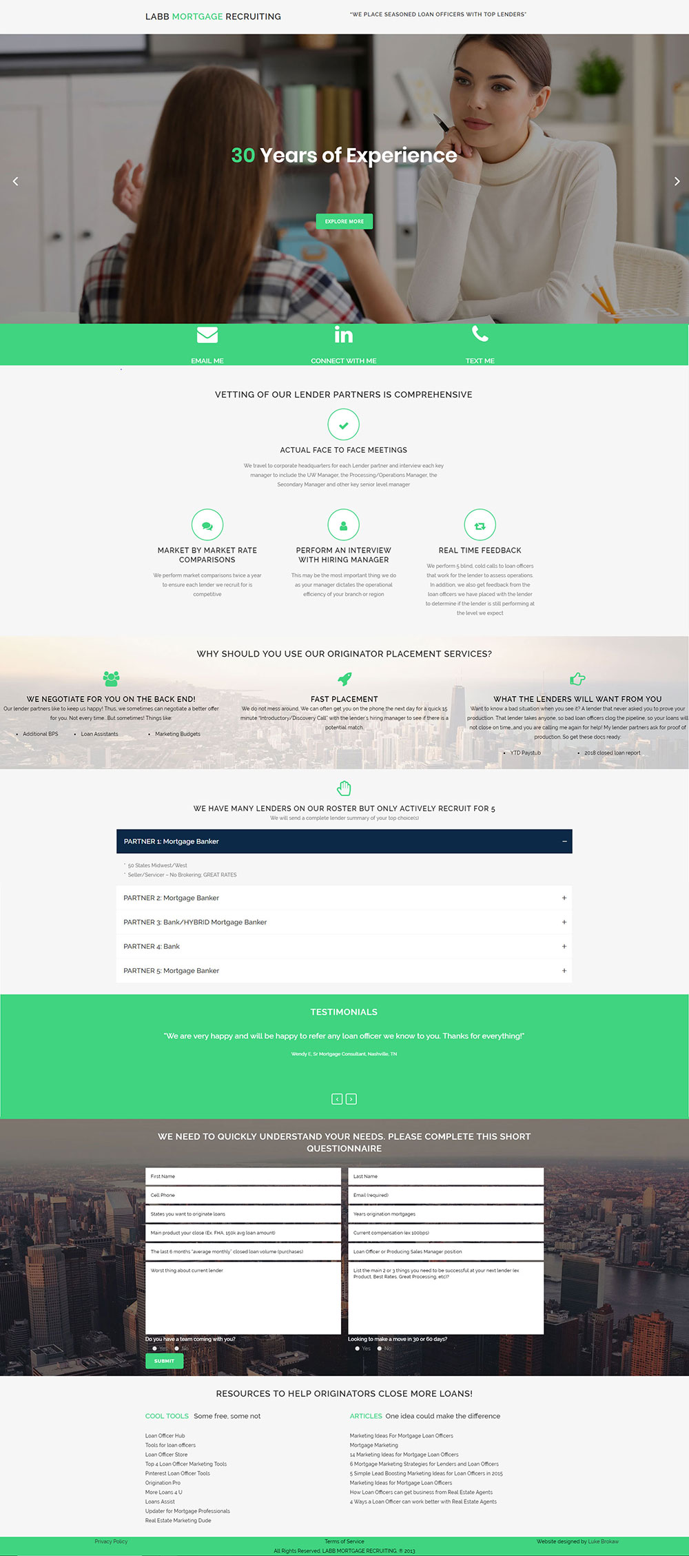 LABB Mortgage Recruiters Landing Page Web Design