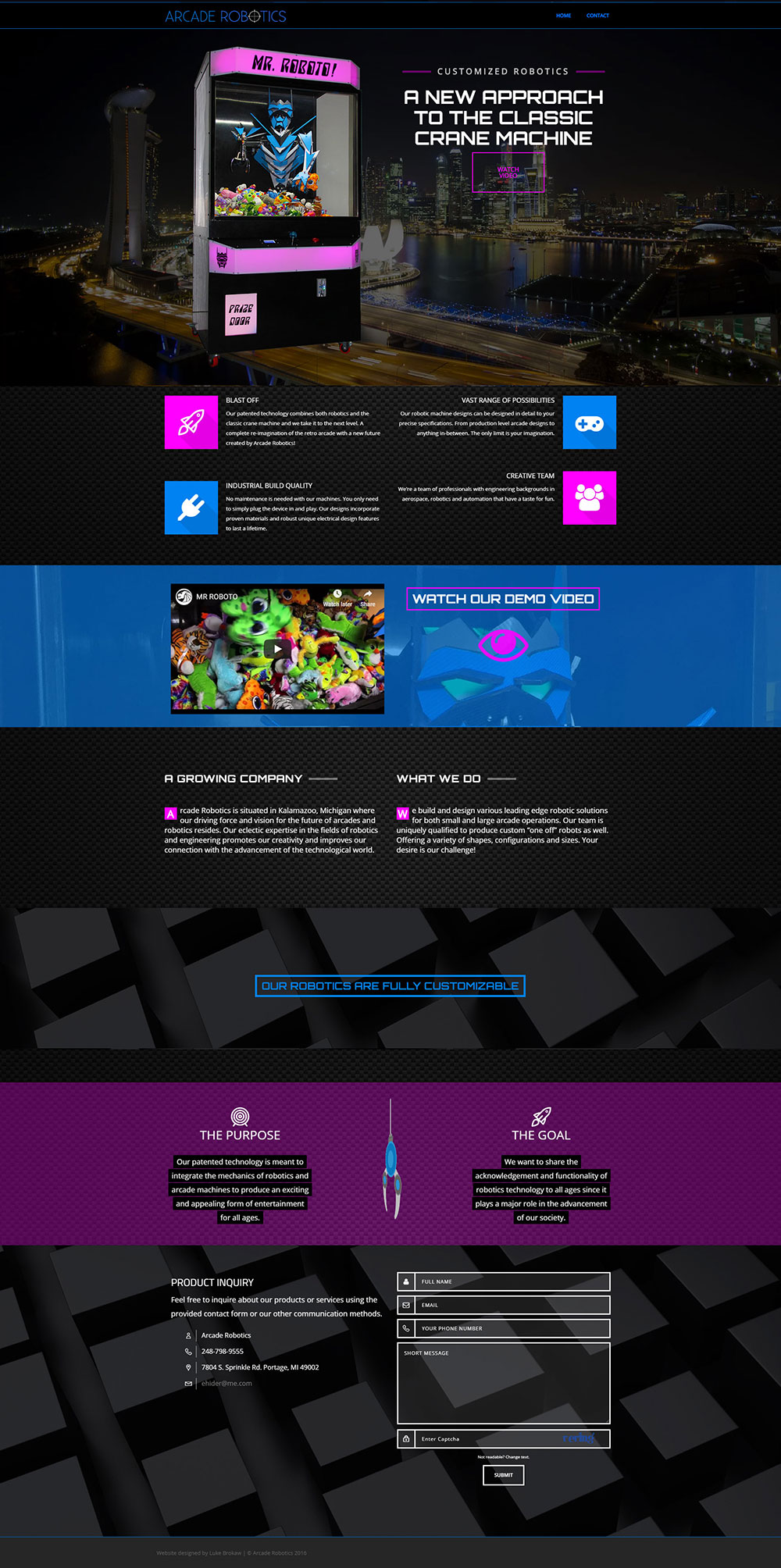 Arcade Robotics One Page Mock Up Website
