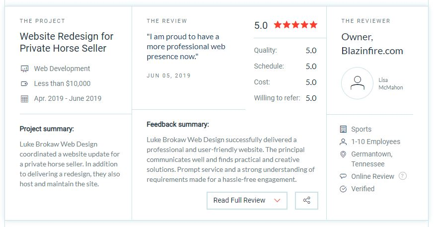 5 Star Review from Blazinfire for Luke Brokaw Web Design on Clutch