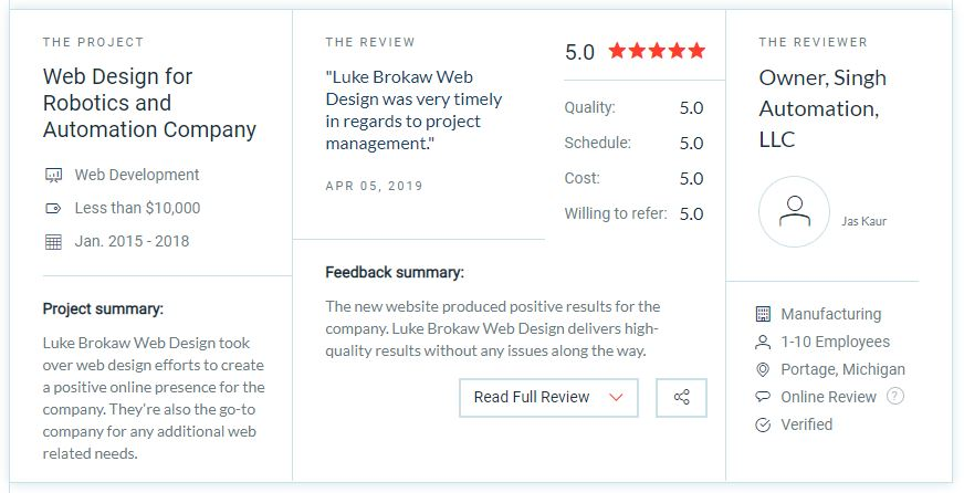 5 Star Review from Singh Automation for Luke Brokaw Web Design on Clutch
